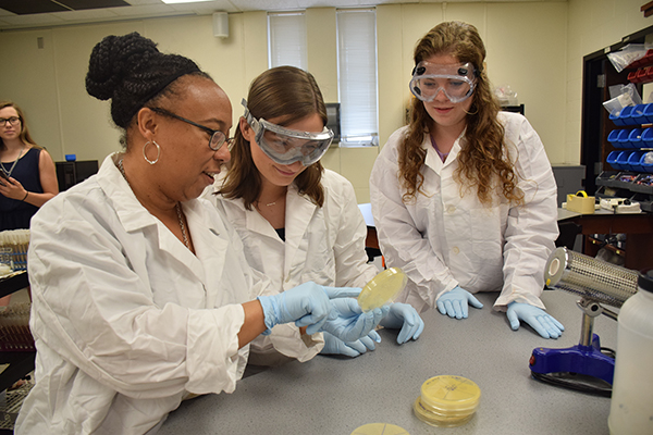 Angela McKinney (left) shares lab instructions with NWU biology students in a summer 2018 session.