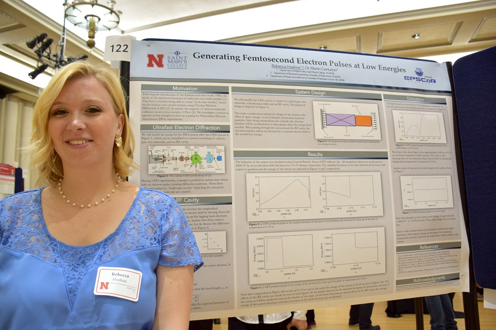 REU Rebecca Hoehne displays her research from summer 2017 work with the lab of UNL physicist Martin Centurion.