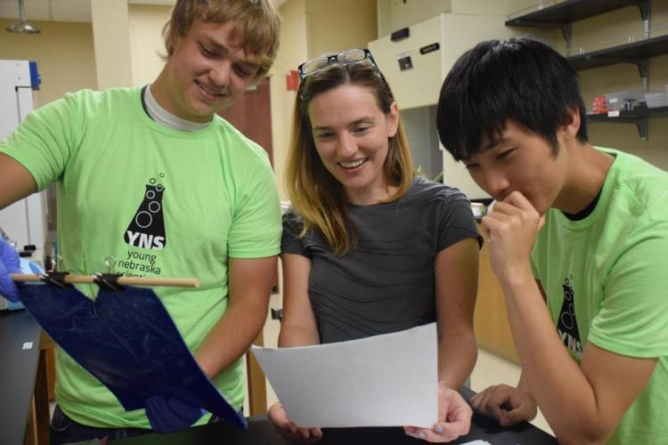 Young Nebraska Scientists' High School Researchers work with Doane University Biology Professor Tessa Durham Brooks